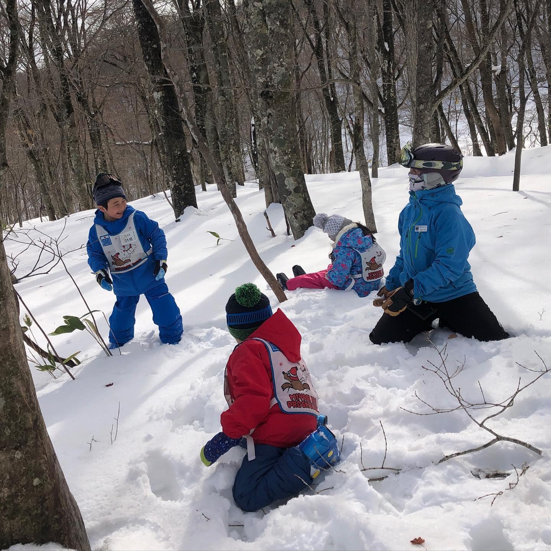 キッズのレッスンでは滑ることだけでなく、雪山で遊ぶこと全てがスキーとして活動しています。滑っても滑ってなくても楽しい、そんなスキーとスキー場の遊び方を提案しています。本当は大人も同じなのかも!?知れませんね〜#えぼしスキー場 #宮城蔵王プロスキースクール #キッズレッスン #スキースクール #ファミリースキー